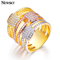 NEWSKY Brand 2016 Hot Zinc Alloy 3 Color Red/Silver/Gold Unique Atmosphere of Women Love Wedding Ring/Anniversary Gift #R616-7
