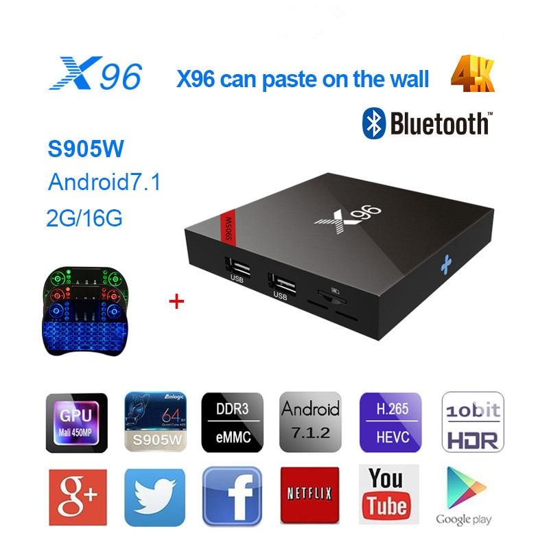 NEW TV Box Smart X96 s905w bluetooth KODI Set Top Box Android 7.1.2 2G16G WiFi 4K Media Player HDMI 2.0 PK MXQ PRO +