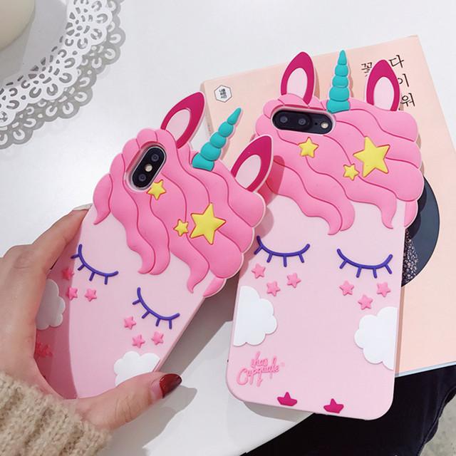 Cute Unicorn 3D Design Soft Silicone Phone Case