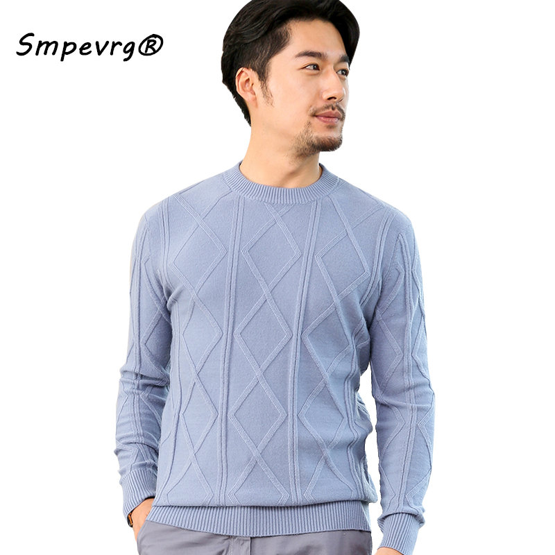 Smpevrg Cashmere Sweater Men Pullovers O-neck Long Sleeve Casual Pullover Men Sweater Knitted Jumpers Autumn Warm Clothes Tops