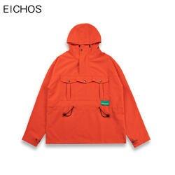 EICHOS половина пуловер с косой молнией куртка для мужчин одноцветное хип хоп спереди три кармана куртки с капюшоном уличная осень ветровка