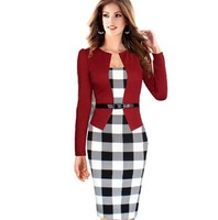 Red Black Purple Womens Autumn Winter Long Sleeve V Collar Black And White PlaidWear To Work