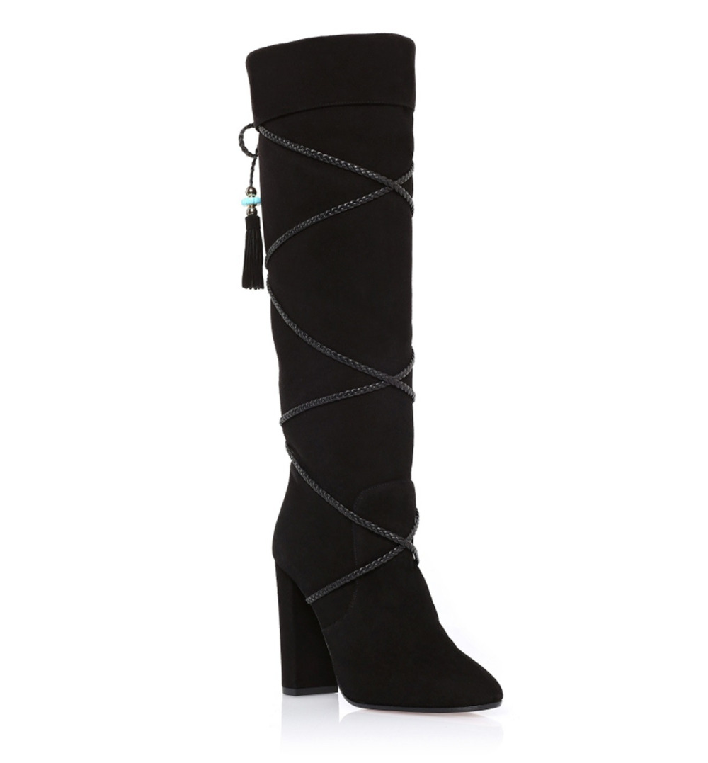 40b60e18bbd Designer-Lace-Up-Bead-Women-Boots-Winter-Black-Suede-Leather-Knee-High -Boot.jpg