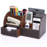 PU Leather Desk Pen Pencil Holder 7 Storage Compartments Multifunctional Office Desk Organizer Business Card Mobile