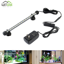 LED Aquarium Fish Tank Light 110-240V EU US UK Plug Underwater Bar Lights White LED Lamp Fish Lightings 19cm 28cm 38cm 48cm 72 led white blue light aquarium top lamp w holder ac 100 240v eu plug