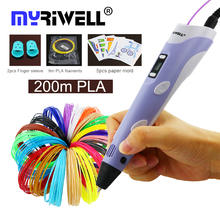 myriwell 3d printer pen 3d pen RP-100B 3d drawing pens with 1.75mm PLA Filament for kids children education tools hobbies toys