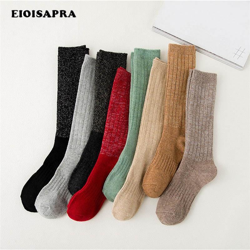 Actief [eioisapra] Heldere Goud Zilver Hoop Hoop Meias Thicken Wollen Sokken Vrouwen Grappige Been Warmer Sokken Japan Harajuku Calcetines Mujer