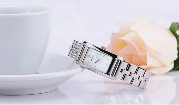 Business Style Women Dress Watches Original Brand Stainless Steel Quartz Wristwatch Natural Shell Analog Sapphire Clock NW1478
