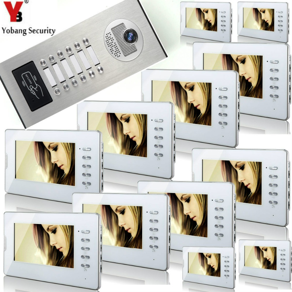 YobangSecurity 7 Inch Wired Video Doorbell Door Chime,Waterproof Door Phone With RFID Access IR Camera For 12 Unit Apartment yobangsecurity wired video door phone 7 inch lcd video doorbell door chime home intercom system kit with rfid access ir camera
