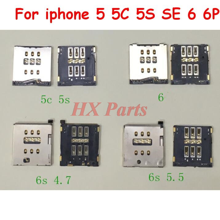 For iPhone 5 5C 5S SE 6 6P 6S 6SP 7 7P 8 8P X SIM Card Socket Reader Holder Slot Tray Adapters Phone Replacement Parts