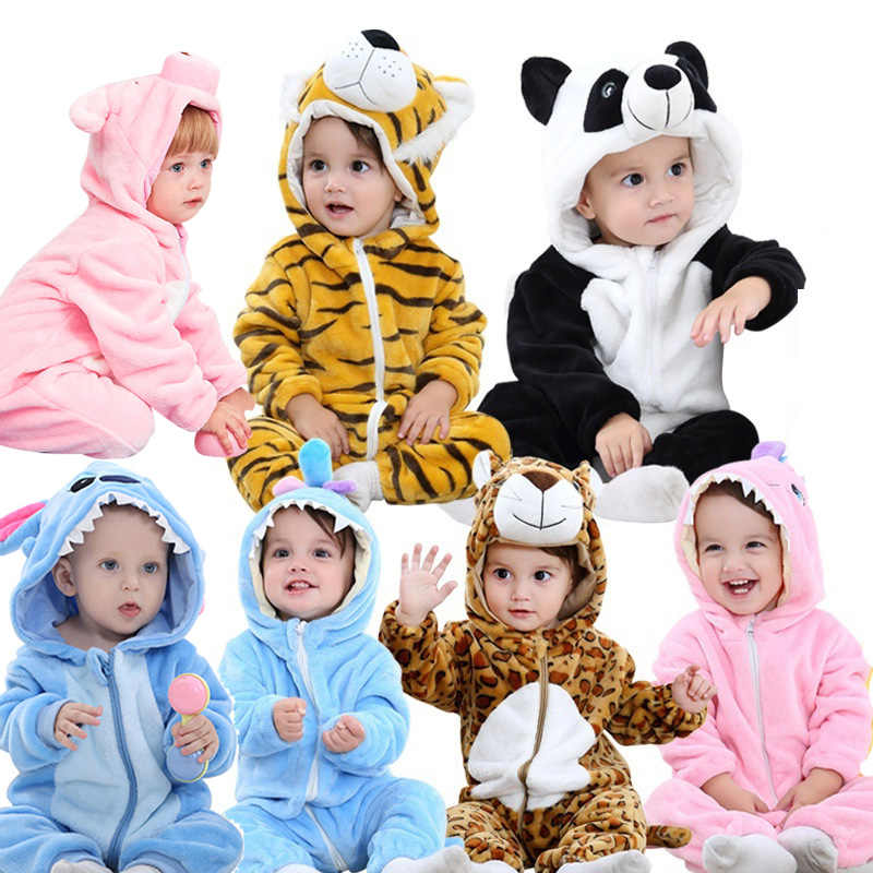 Flannel Baby Rompers Rabbit Cotton Baby Boys Girls Animal Rompers Spring Winter Stitch Baby's Sets Kigurumi Newborn Clothes 2019