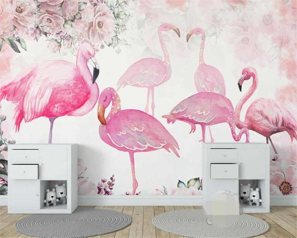 Купить с кэшбэком Beibehang High quality 3d wallpaper mural modern minimalist hand-painted flamingo 10 photo wallpaper papel de parede tapety