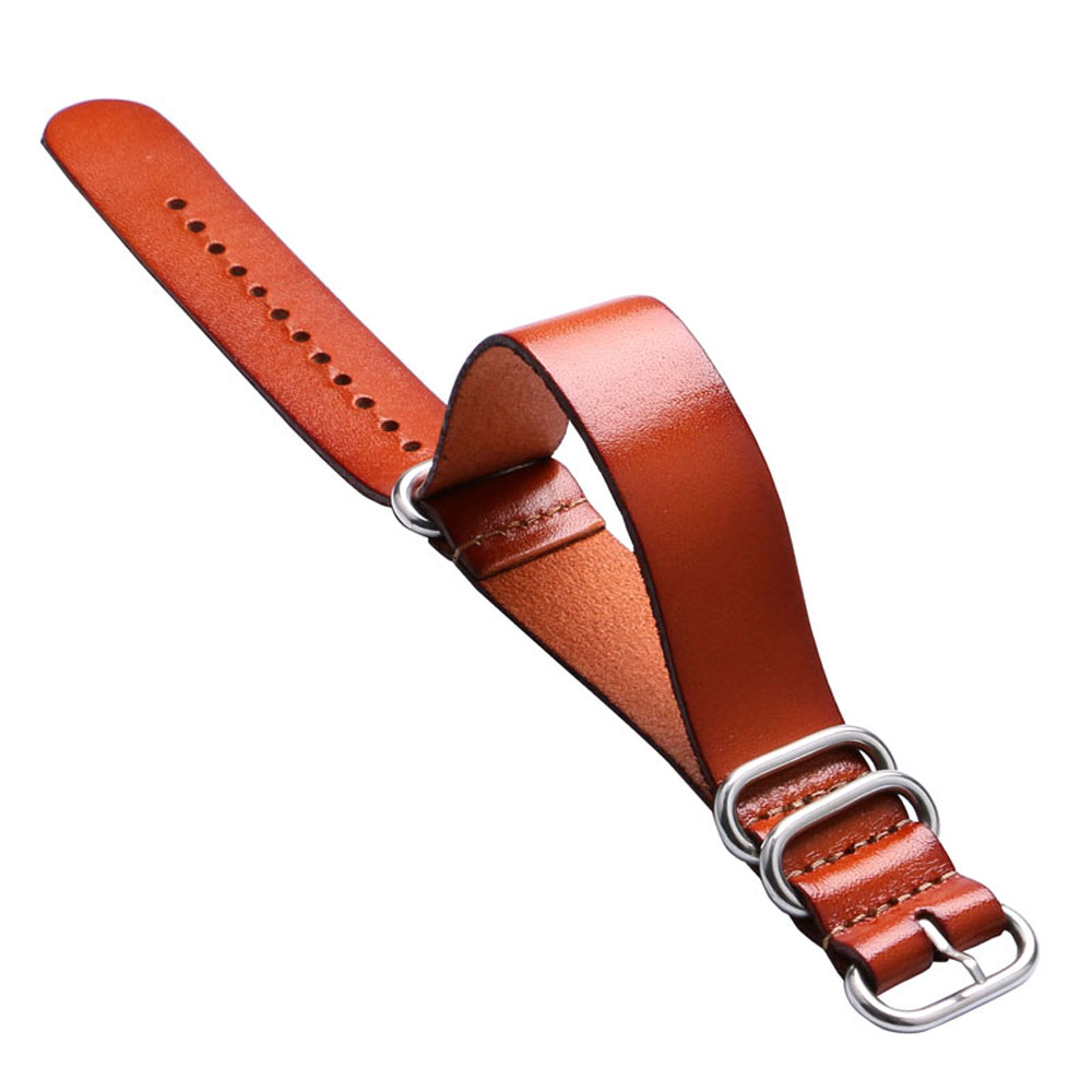 Brown Color 20/22mm Genuine Leather Watch Strap One Piece Pin Buckle Watchband Men Women Watches Replacement Bracelet