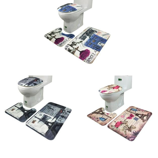 Bathroom accessories set non slip blue ocean style for Blue bath accessories set