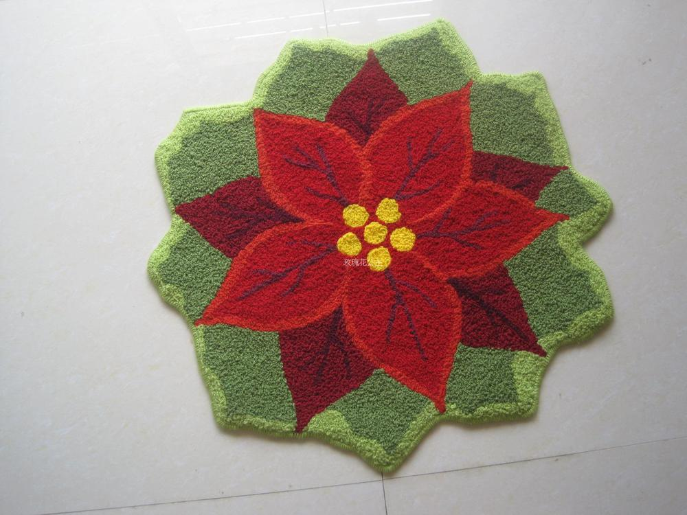 New Christmas festive poinsettia rug pad non-slip doormat married Freddie Mac computer chair cushion