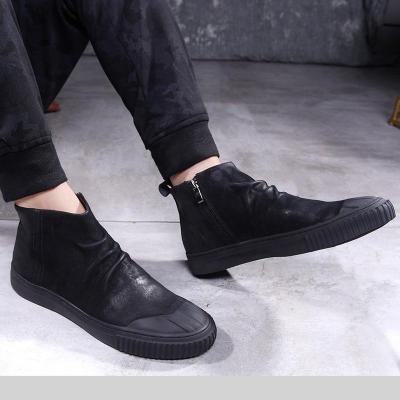 Botas De Arena Zapatos Casuales Retro Montar Tendencia Menshoes Cortas Los Otoño Negro Inglaterra Coreana Hombres Versión Cuero wSqAz5Exq