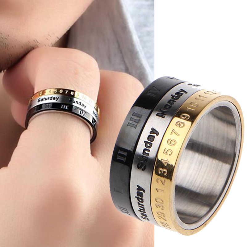الكلاسيكية تصميم دوران التقويم التسجيل خاتم التيتانيوم الصلب ثلاثة ألوان العلامة التجارية ثلاثة طبقة خاتم المرأة مجوهرات اكسسوارات