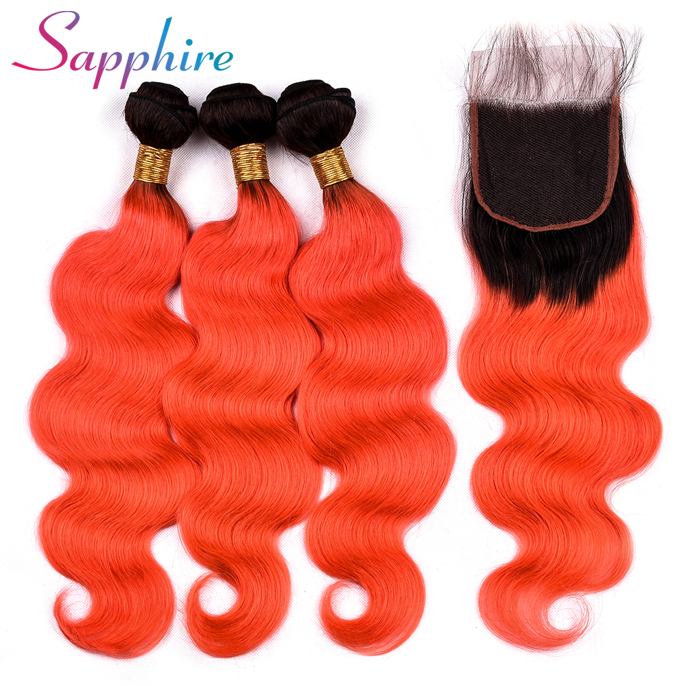Sapphire Brazilian Remy Hair Body Wave 3 Bundles Human Hair with Closure Free Part TB/Or ...