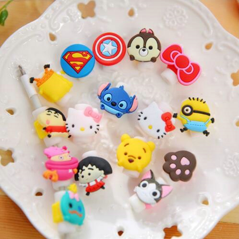 10pcs/lot Cartoon Cable Protector Data Line Cord Protector Protective Case Cable Winder Cover For iPhone USB Charging Cable все цены