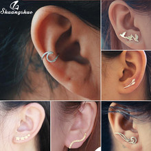 Yiustar Fashion Sea Wave Ear Climbers Earrings for Women Twisted Ear Cuff Wave Conch Piercing Earings Pendientes Boho Jewelry(China)