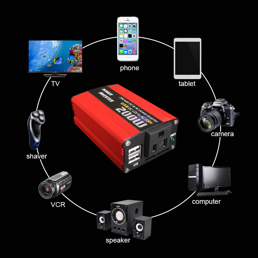 200W car power inverter usb charger adapter 150W portable auto modified 180W 16
