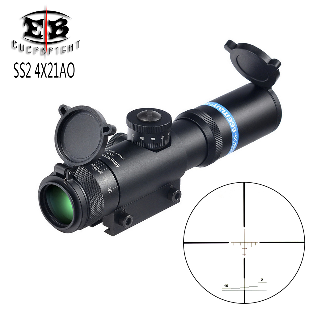 EB SS2 4x21 AO Compact Hunting Air Rifle Scope Tactical Optical Sight Glass Etched Reticle Riflescope With Flip Open Lens Caps