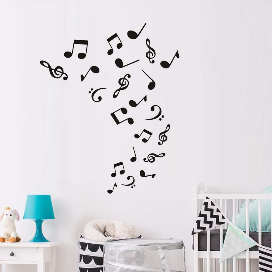Musical notes wall decal home decoration wallpaper living room sofa vinyl music removable wall for Olafur arnalds living room songs vinyl