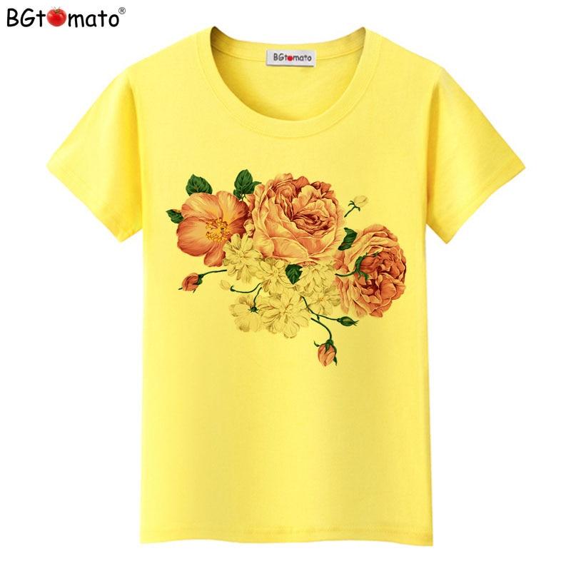 BGtomato Women Flowers Print T Shirt New Summer Women T Shirt Fashion Female Rose Flower Tops T-shirt Camisetas Mujer Tops Blusa