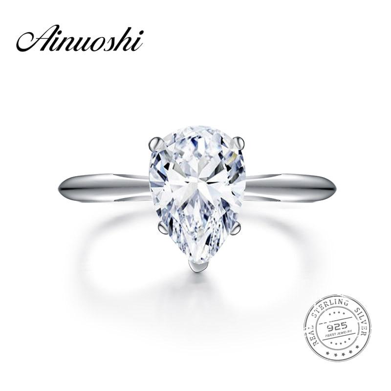 AINOUSHI 2 Carat Pear Shape Solitaire Ring Bridal Band Women Jewelry Original 925 Sterling
