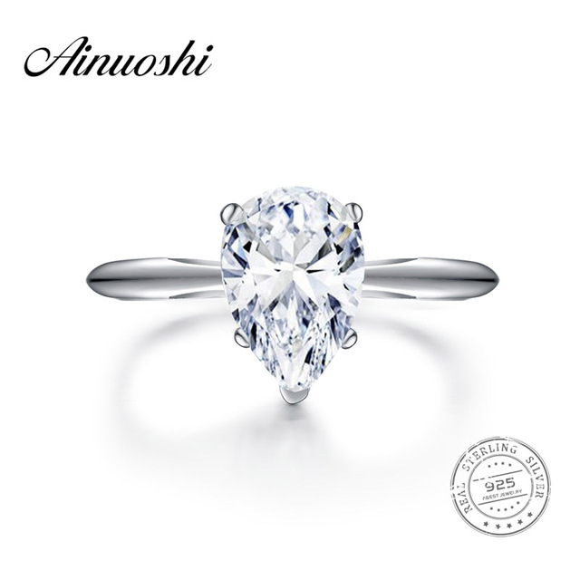 AINOUSHI 2 Carat Pear Shape Solitaire Ring Bridal Band Women Jewelry  Original 925 Sterling Silver Sona
