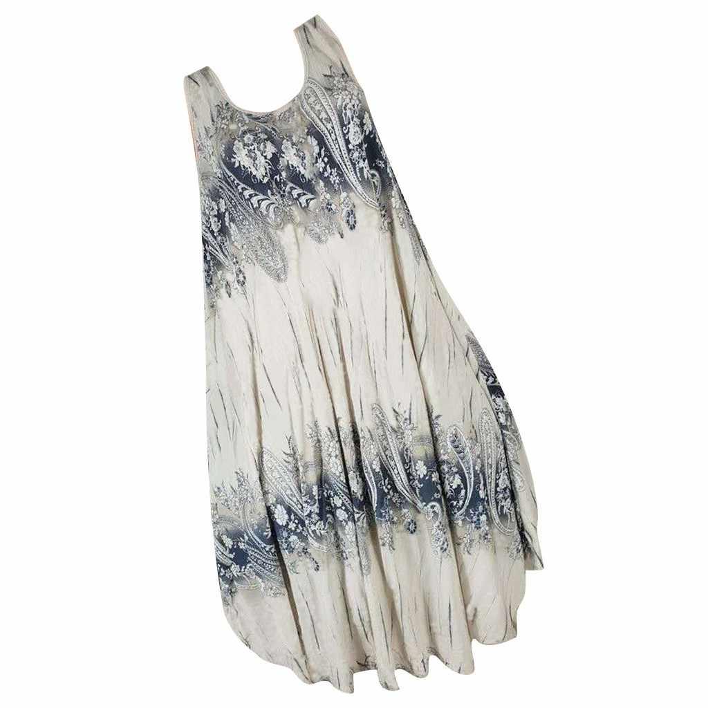 MUQGEW/летнее платье, модное женское платье с круглым вырезом, без рукавов, с открытыми плечами, с принтом, макси платье, асимметричный Свободный Топ, платье-рубашка (S-5XL)