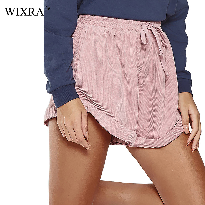 Wixra High Waist Loose Corduroy   Shorts   Winter Spring Summer Women Casual Lace-Up Solid Trendy   Shorts   For Lady