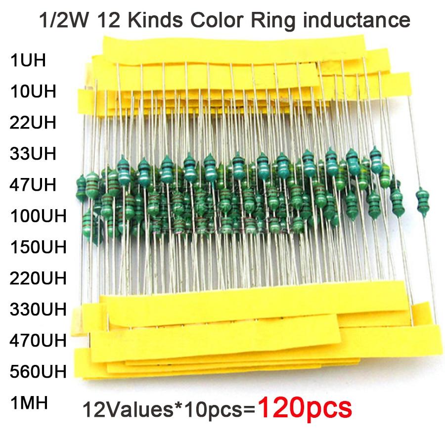 0307  DIP 1/4W 12 Kinds Color Ring Inductance Each 10pcs Inductors Assorted Set Kit 1UH 10 22 33 47 100 150 220 330 470 560 1MUH