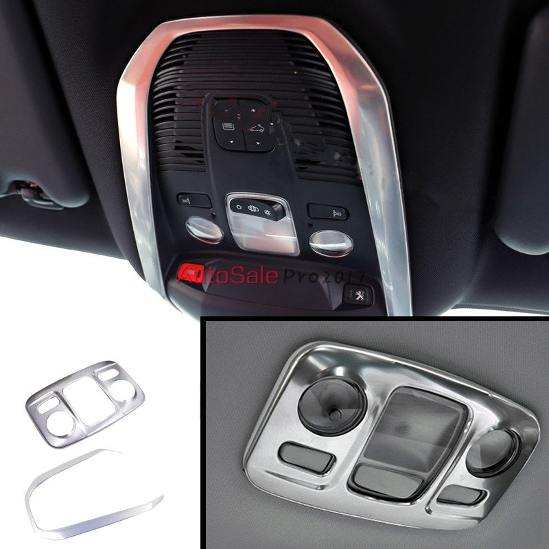 Accessories for Peugeot 3008GT 3008 GT 2016 2017 Stainless Steel Interior Front & Rear Back Reading Light Cove Trim 2pcs
