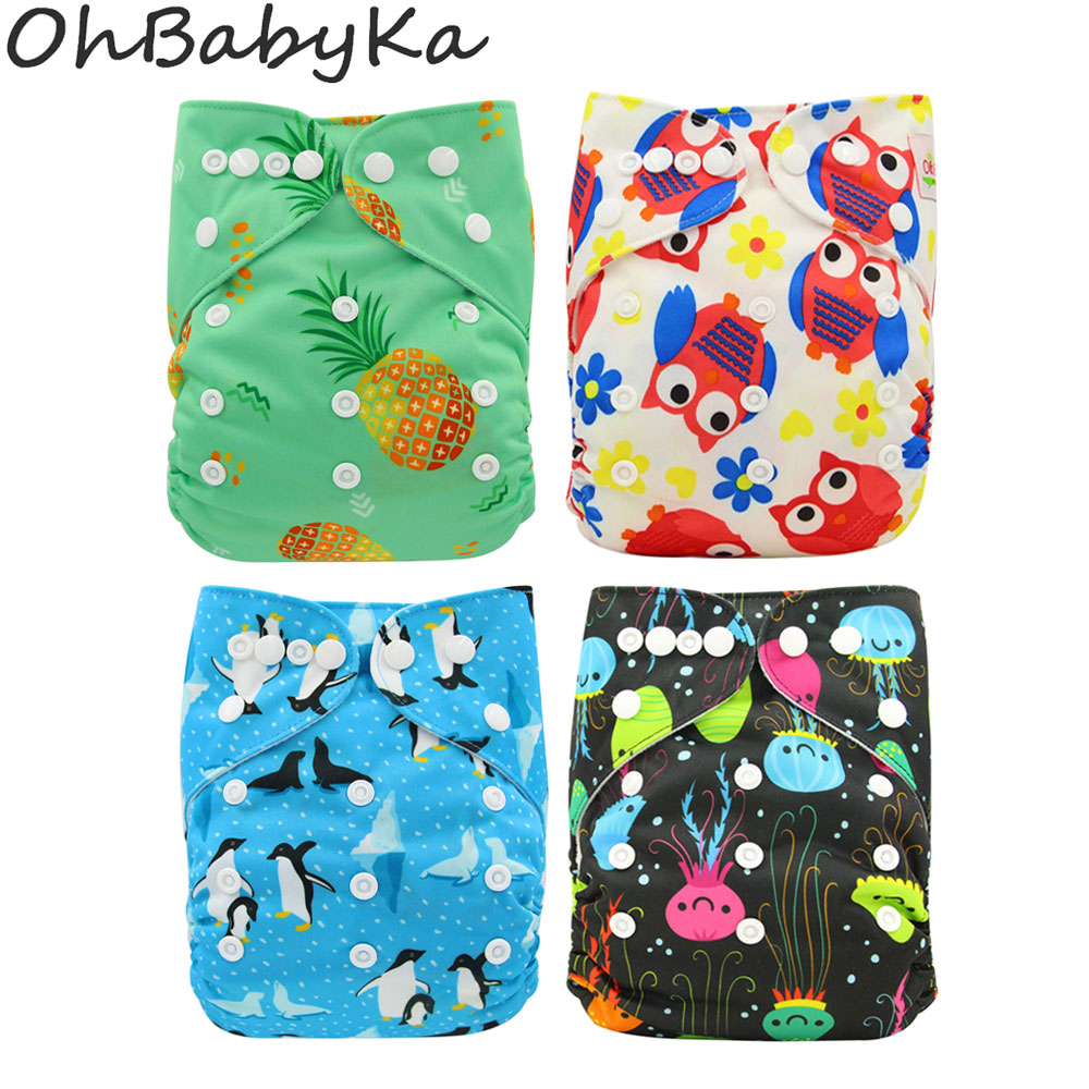 Ohbabyka Cloth Diapers Baby Reusable Nappies Couche Lavable Piscine Adjustable One Size Designer Newborn Pocket Diapers Cover