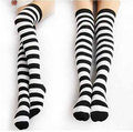Calcetines cosplay negro y blanco a rayas rodilla calcetines Lolita maid calcetines de rayas rojo y negro calcetines
