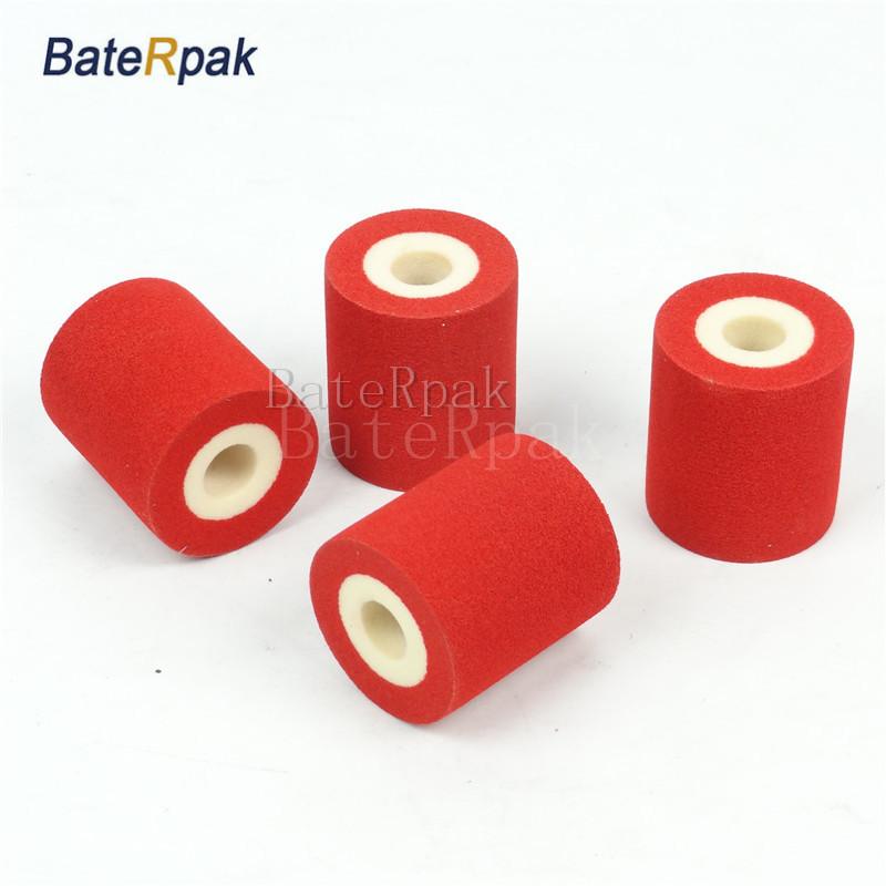 Red Color Solid Ink roll,BateRpak 12pcs/carton 100% sponge ink roller,solid coding machine rolls,36*32/40mm 90-130degree