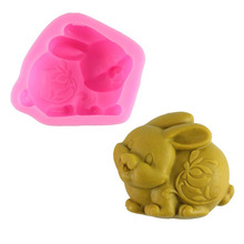 3D Easter Rabbit Animal Soap Silicone Mold Resin Clay Candle Fondant Cake Decorating Baking Tools 3d owl animal silicone soap mold resin clay candle molds fondant cake decorating tools chocolate candy pastry cake baking molds