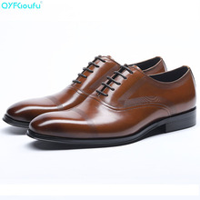 QYFCIOUFU Luxury Genuine Cow Leather Square Toe Mens Formal Dress Shoes Oxfords Black Wine Red Carving Lace-up Shoes For Office
