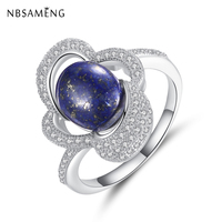 Authentic S925 Sterling Silver Finger Ring Luxurious Micro Lapis Lazuli Crystal Original For Women Party Jewelry