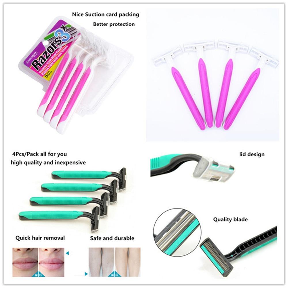 Manual Shaver For Women Men 4Pcs/Lot Razor With 3 Layers Blades Shaving Machines Beard Knife Face Care Navaja Safety Razor