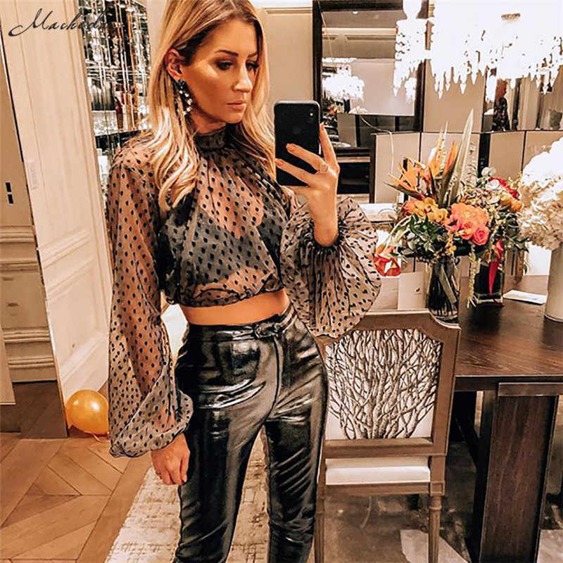 Macheda Sexy Perspective T Shirt Women Mesh Wave Point Cropped Top  Turtleneck lantern Sleeve T- 11a547f01e0b