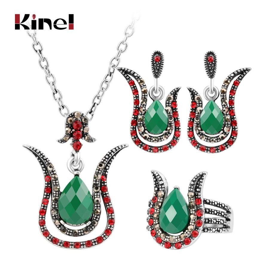 Kinel 2018 Turkey Jewelry Sets Wholesale Fashion Silver Women Retro Green Pendant Necklace Earring Pink Crystal Ring Jewelry Set