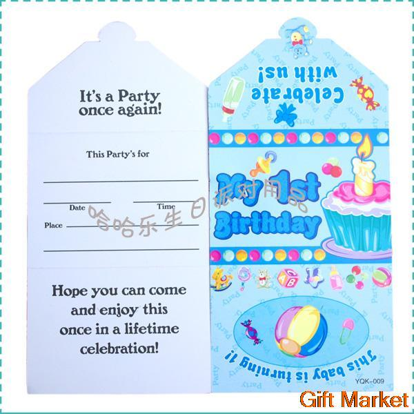 10 Pcs Lot Happy Birthday Decoration Cartoon Blue 1 Year Old Boy Card Party Event Suppliesfree Shipping In Favors From Home