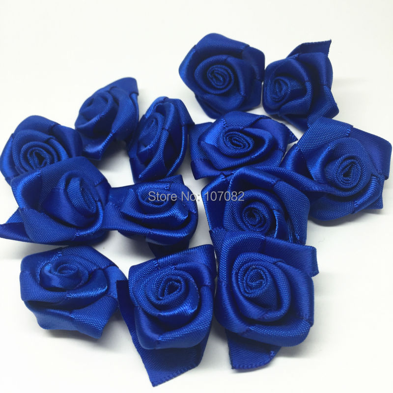 100pcs 25mm Royal blue Ribbon Roses Flowers Decorative Flower Wedding Bouquets Embellishments