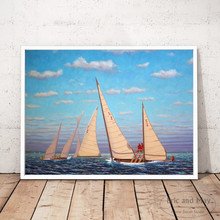 Vintage Sailing Watercolor Canvas Art Print Painting Poster Wall Pictures For Living Room Home Decorative Bedroom Decor No Frame цена