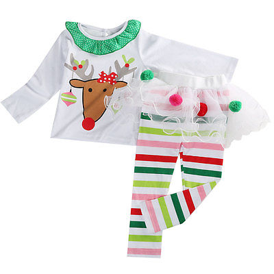 2016 Fashion Kids Girls Christmas Baby Toddler Reindeer Long Sleeve Top+Lace Tutu Skirt Dress Legging Pants Outfits 2015 elegant baby girls christmas reindeer top tutu tulle skirt pants 2 pc outfit set children christmas clothing