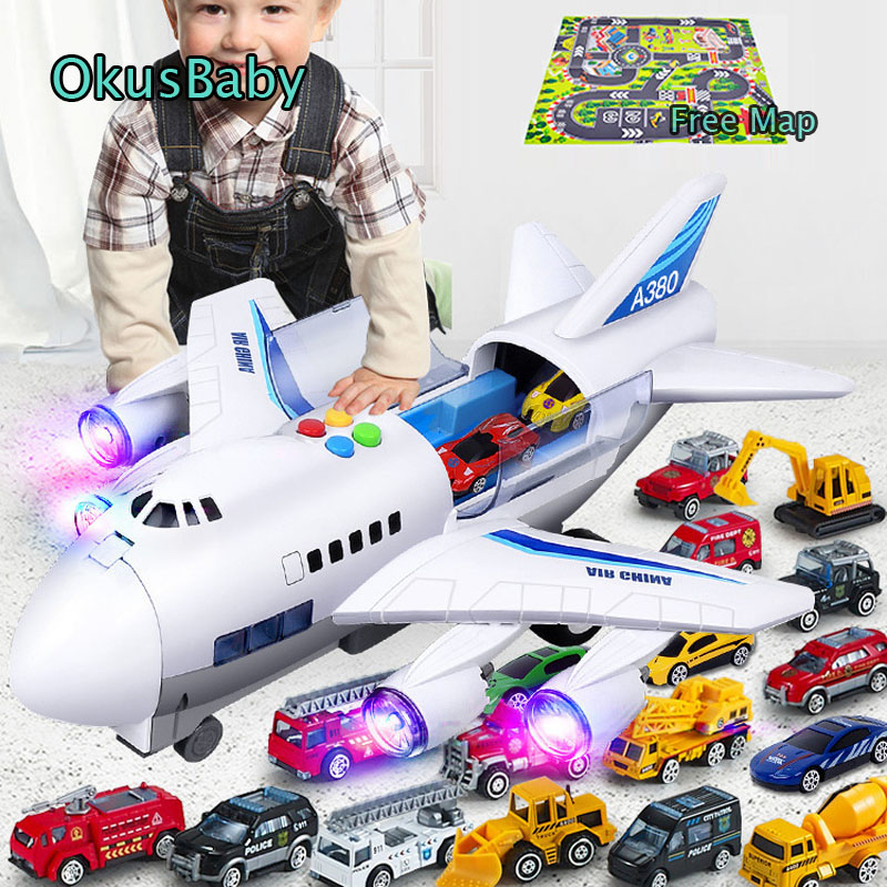 4 Style Music Story Simulation Track Inertia Children's Toy Aircraft Storage Passenger Plane Ploice Fire Rescue Baby Boy Toy Car