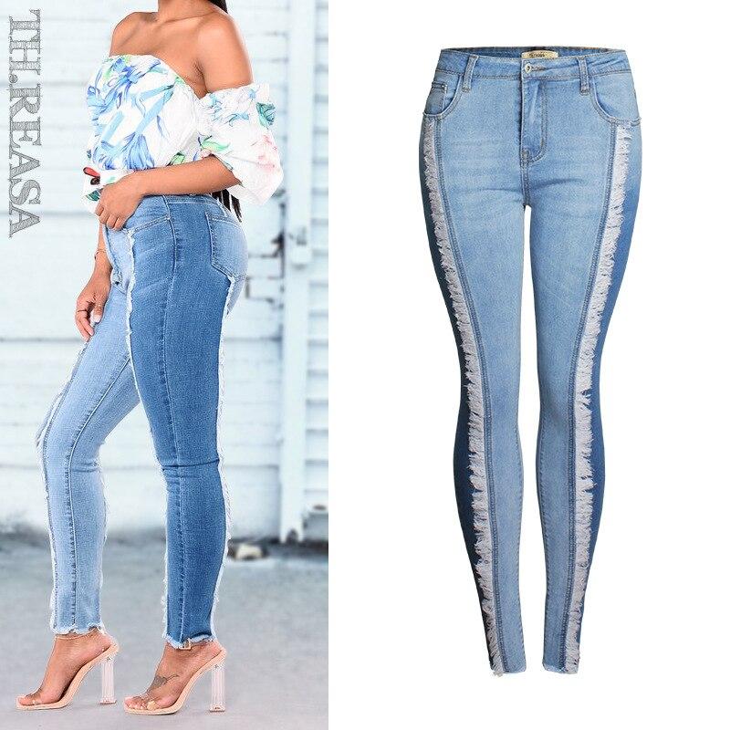 US $23.1 |Mody gradientu kobiet Plus Size Jeansy ze streczem 4Xl Push Up tyłek Jean Skinny Femme Slim ołówek kobieta Denim Patchwork spodnie Tassel w