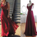 2015 Vestidos Longo Inexpensive Chiffon Elegant Sexy V Neck Pleated Long Deep Purple Celebrity Dresses With Sheer Back